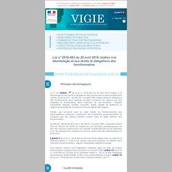 Loi n° 2016-483 du 20 avril 2016 relative à la déontologie et aux droits et obligations des fonctionnaires
