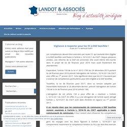 Vigilance à respecter pour les CC à DGF bonifiée ! – Publications du cabinet Landot & associés