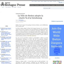 La Ville de Redon adopte la charte Ya d'ar brezhoneg