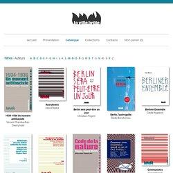 La Ville Brûle - Catalogue : les livres