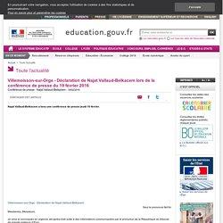 Villemoisson-sur-Orge - Déclaration de Najat Vallaud-Belkacem lors de la conférence de presse du 19 février 2016