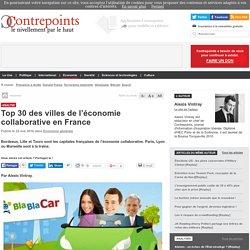Top 30 des villes pour l'économie collaborative en France