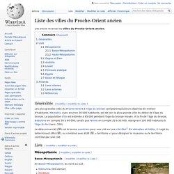 Liste des villes du Proche-Orient ancien