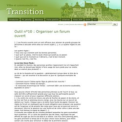 Outil n°10 : Organiser un forum ouvert