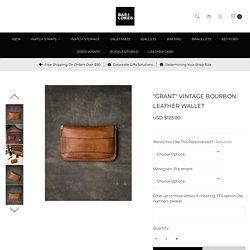 """Grant"" Vintage Bourbon Handcrafted Leather Flap Wallet"