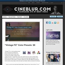 "Cineblur""Vintage FX"" Color Presets: $8 - Cineblur"