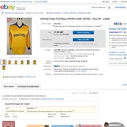 Vintage Puma Football Sports Shirt Retro Yellow Large