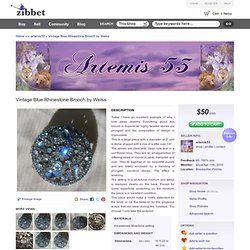 Vintage Blue Rhinestone Brooch by Weiss by artemis53 on Zibbet