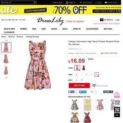 Vintage Sleeveless High Waist Printed Pleated Dress For Women, LIGHT PINK, 2XL in Vintage Dresses