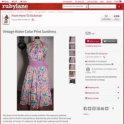 Vintage Water Color Print Sundress from fhtv on Ruby Lane