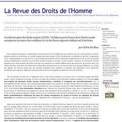 Comité européen des droits sociaux (CEDS) : Violations par la France de la Charte sociale européenne en raison des conditions de vie des Roms migrants résidant sur le territoire