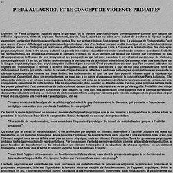 LE CONCEPT DE VIOLENCE PRIMAIRE CHEZ PIERA AULAGNIER
