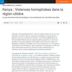 Kenya : Violences homophobes dans la région côtière