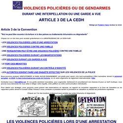 VIOLENCES POLICIERES OU DE GENDARMES : ARTICLE 3 DE LA CEDH