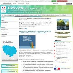 Enquête sur les violences sexistes et sexuelles faites aux femmes au travail en Essonne - Direccte Ile-de-France