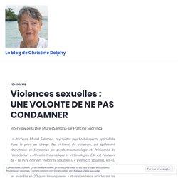 Violences sexuelles : UNE VOLONTE DE NE PAS CONDAMNER