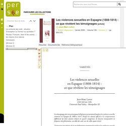 Les violences sexuelles en Espagne (1808-1814) : ce que révèlent les témoignages