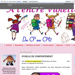 A l'encre violette: ECHELLE DE COMPORTEMENT