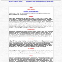 VIRGILE : vie et textes traduits