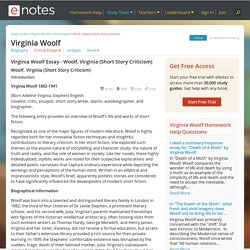 Virginia Woolf Essay - Woolf, Virginia (Short Story Criticism)
