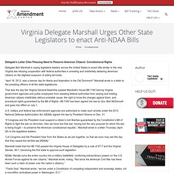 Virginia Delegate Marshall Urges Other State Legislators to enact Anti-NDAA Bills