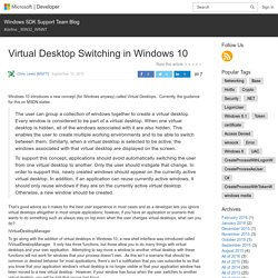 Virtual Desktop Switching in Windows 10
