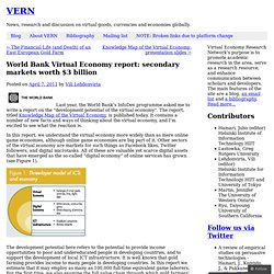 World Bank Virtual Economy report: secondary markets worth $3 billion