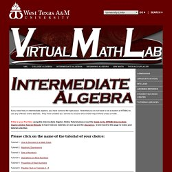 Virtual Math Lab - Intermediate Algebra
