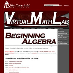 Virtual Math Lab - Beginning Algebra