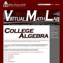 Virtual Math Lab - College Algebra