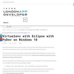 Virtualenv with Eclipse with PyDev on Windows 10 – London App Developer