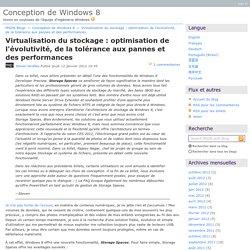 Virtualisation du stockage: optimisation de l'évolutivité, de la tolérance aux pannes et des performances - Conception de Windows8