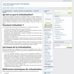 La Virtualisation : machine virtuelle ou hyperviseur : comment c