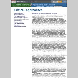 critical approaches literature essay Writing a critical essay about literature the idea behind critical analysis of literature is to write an essay that a good witch approaches her and gives.
