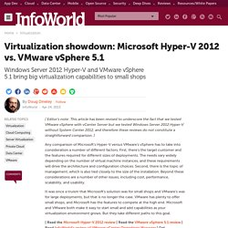 Virtualization showdown: Microsoft Hyper-V 2012 vs. VMware vSphere 5.1