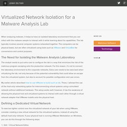 Virtualized Network Isolation for a Malware Analysis Lab