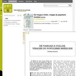 De Vargas à Collor, visages du populisme brésilien