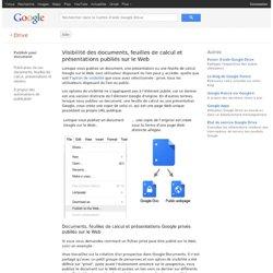 Visibilité des documents, feuilles de calcul et présentations publiés sur le Web - Centre d'aide Drive