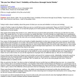 """Do you See What I See?: Visibility of Practices through Social"