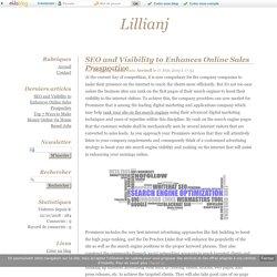 SEO and Visibility to Enhances Online Sales Prospective - Lillianj