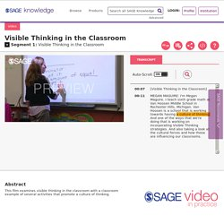 SAGE Video - Visible Thinking in the Classroom