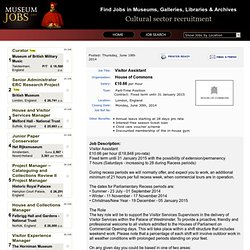 Visitor Assistant - House of Commons