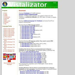 Vistalizator - change display language in Windows Vista and Windows 7