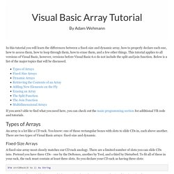 Visual Basic Arrays Tutorial