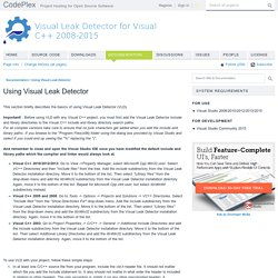 Visual Leak Detector for Visual C++ 2008-2015 - Documentation