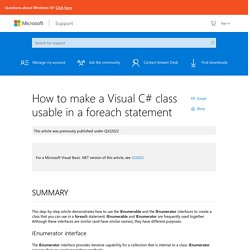 How to make a Visual C# class usable in a foreach statement