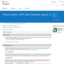 Visual Studio .NET 2003 Readme (parte 1)