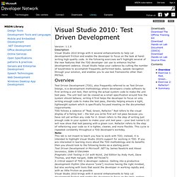 Visual Studio 2010: Test Driven Development