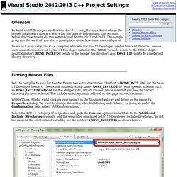 Visual Studio 2012 C++ Project Settings