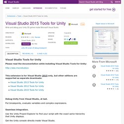 Visual Studio 2015 Tools for Unity extension